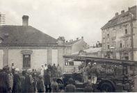 Übung der FFAspern ca 1920 Ecke Gemeindeg. - Gr. Enzersdorfer Str. - Bild von Fam. Mitsch
